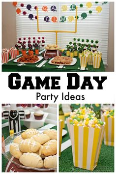 If you can't make it to the game do a little homegating with these awesome game day party ideas and game day recipes! Get ready for the big game with a table that looks like a football field and a table top field goal.  From homemadeinterest.com #BigGameTreats #Ad