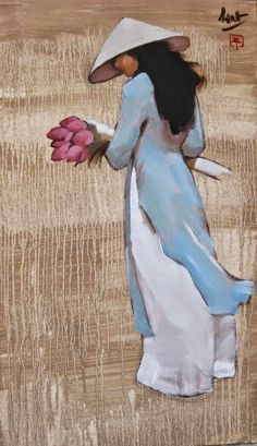Girl_in_Blue_Dress_ Nguyen Thanh Binh Chinese Painting, Chinese Art, Art Asiatique, Figurative Art, Asian Art, Japanese Art, Watercolor Paintings, Abstract Paintings, Art Paintings