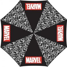 1076cfe621c Marvel Logo Panel Umbrella features black and white art of favorite Marvel  characters and the Marvel logo adding a pop of red. Compact Design Nylon  Sleeve ...