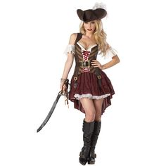 Caribbean Pirate Warrior Costume Women Halloween Pirate Costume Dress Female…