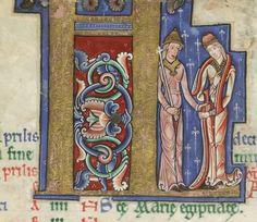 The Hunterian Psalter - England c. 1170 folio 2v: detail of 'KL' (nobles) from April