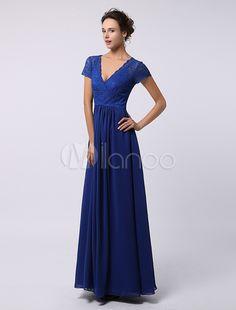 Elegant A-Line V-Neck Lace Short Sleeves Beautiful Dress For Mother Of Bride -No.2