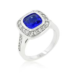 Genuine Rhodium Plated Classic Elegant Ring with Cushion Cut Sapphire Blue Cubic Zirconia Center Stone and Round Cut Clear Cubic Zirconia Accents Polished into a Lustrous Silvertone FinishThe Sapphire Classic Ring is the perfect engagement style. Classic Engagement Rings, Diamond Engagement Rings, Wedding Engagement, Fashion Rings, Fashion Jewelry, Cubic Zirconia Rings, Jewelry Trends, Jewellery Designs, White Gold Diamonds
