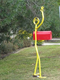 Mailbox - Home Decor Pin Funny Mailboxes, Unique Mailboxes, Metal Projects, Welding Projects, Junk Art, Welding Art, Mail Art, Garden Art, Fun Crafts