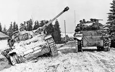 An M36 tank destroyer passes a destroyed German Panzerkampfwagen IV from the 15th Panzergrenadier Division. #WW2