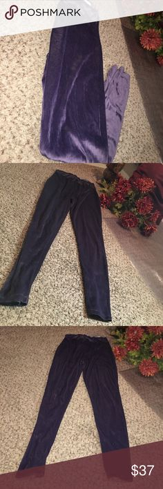 Velvet leggings Super cute leggings! Crushed velvet/purple/ band around waist / comfortable / can fit up to 10(sizes after that may be uncomfortable)  / worn a few times still in good condition! Pants Leggings