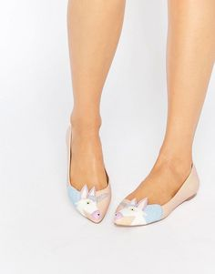 Image 1 of ASOS LULAMOON Pointed Unicorn Ballet Flats
