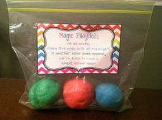 Magic Playdoh! I did this last year with my class and it was so much fun! Students are given white, handmade play doh and they have to roll it around and play with it to see if it changes color. If it changes color, they are going to have a great year in their new grade! Click link to find recipe and free, printable rhyme,