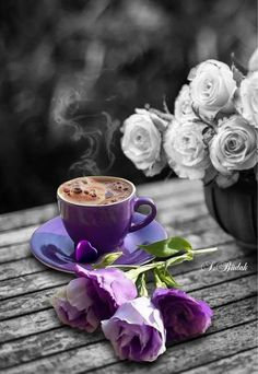 ☕coffee and flowers