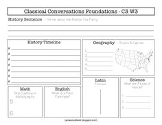 Classical Conversations: Cycle 3 Review sheets (blank and fill in the blank).
