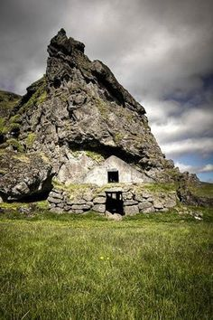 Rutshellir, Iceland. The oldest man-made residence in Iceland I saw this-- there were sheep in it!