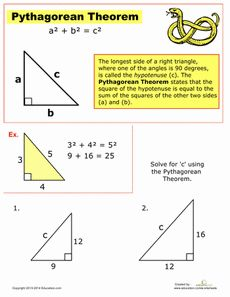 Give your math student an introduction to the Pythagorean theorem. Learn about the mystery of the right triangle and how to solve for the hypotenuse. Geometry Worksheets, Math Worksheets, Math Resources, Math Tips, Printable Worksheets, Math For Kids, Fun Math, Maths, 8th Grade Math