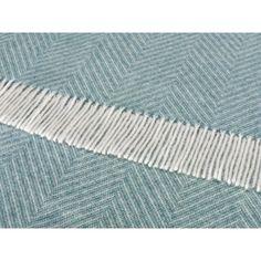 Bronte by Moon Shetland Wool Herringbone Jade Throw Blanket