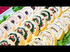 Праздничная закуска «Сырные рулетики» 3 вкусных рецепта! - YouTube