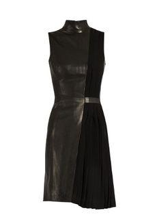 High-neck leather and pleated-cady dress | Mugler | MATCHESFASHION.COM