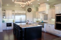 White Kitchen with dark glaze on cabinets - maybe hubby will go for this?!
