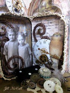 Sweet Sisters Altered Tin Shadow Box by FeathersAndFlightJM, $55.00