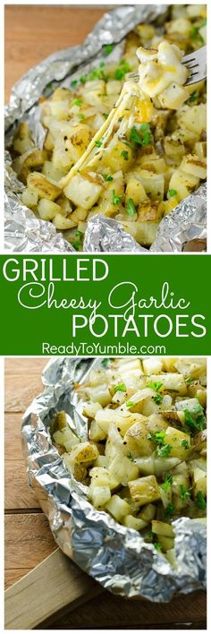 Easy and cheesy, these Grilled Cheesy Garlic Potatoes are cooked in foil until tender and flavorful. They're the perfect BBQ side dish, and clean-up is a breeze! - Grilled Cheesy Garlic Potatoes - Ready to Yumble Side Dish Recipes, Veggie Recipes, Vegetarian Recipes, Dinner Recipes, Zuchinni Recipes, Vegetarian Barbecue, Grilled Potato Recipes, Raw Recipes, Veggie Food