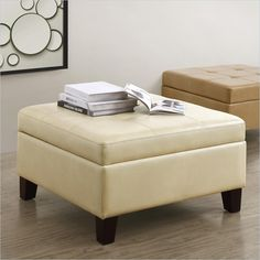 Living Square Faux Leather Storage in Beige - $120 & free shipping.