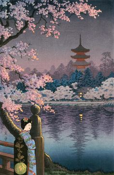"Japanese Art Print ""Geisha and Cherry Tree, Ueno Park"" by Ts.- Japanese Art Print ""Geisha and Cherry Tree, Ueno Park"" by Tsuchiya Koitsu, woodblock print reproduct Source by etsy - Japanese Art Prints, Japanese Drawings, Japanese Artwork, Geisha Kunst, Geisha Art, Japan Illustration, Botanical Illustration, Art Occidental, Japan Painting"