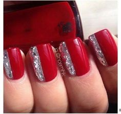 Red nails with silver glitter