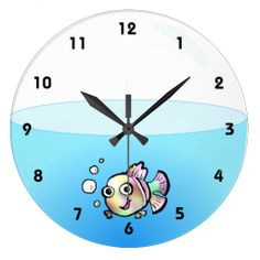 Cartoon Fish Bowl Clock with numbers - Too cute! <3