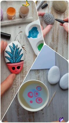 Inspirational Painted Stones and Rocks Ideas  <br> Easy Diy Crafts, Diy Crafts To Sell, Diy Crafts For Kids, Sell Diy, Rock Painting Patterns, Rock Painting Designs, Hand Painted Rocks, Painted Stones, Painted Rock Cactus