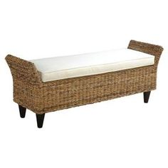 """Woven abaca bench with solid mahogany legs.Product: Bench    Construction Material: Abaca wood and solid mahogany    Color: Natural and white   Features:  Adds British Colonial-informed appeal to your living room or bedroom     Gorgeous design    Will enhance any decor  Dimensions: 22"""" H x 56"""" W x 16"""" D"""