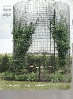 wire silo as garden enclosure