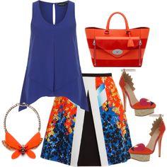 """Orange Blue"" by bysc on Polyvore"