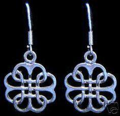 New Celtic Infinity Knot Wicca Silver Earrings Jewelry Sterling Silver 925 Jewelry
