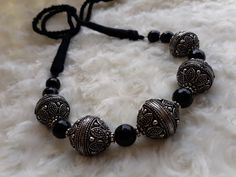 Handmade black agate with chunky silver bead. #vipracollection