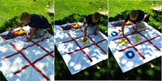 Giant Tic-Tac-Toe board. You can use old scraps and an old sheet or towel.