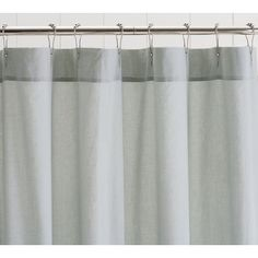 Extra Long Fabric Shower Curtain in White or Cream with Grey ...