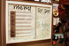 Dollar Store Frame into Cuteness!  Just insert scrapbook paper, sticker it, and dry erase marker to write on it daily!