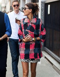 pattern mix-up | red plaid over leopard mini