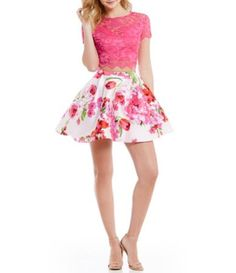 B. Darlin Short-Sleeve Lace Illusion-Yoke Top To Floral High-Waist Skirt Two-Piece Dress #Dillards