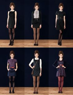 Maybe not with the funky colored tights, but everything else about these looks I love. Maybe not with the funky colored tights, but everything else about these looks I love. Fall Outfits, Casual Outfits, Cute Outfits, Fashion Outfits, Work Outfits, Gamine Outfits, Skirt Outfits, Dress Skirt, Sexy Rock
