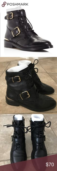 Vince camuto black leather combat boots Super cute! Vince camuto bringing back the 90s! Leather lace up boots. in excellent condition! Very nice. Comes in original box Vince Camuto Shoes Combat & Moto Boots