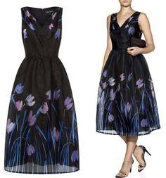 St. John Organza '50s Dress black floral full skirt