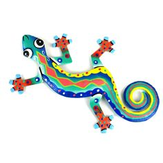 This gecko is handmade in Haiti from recycled oil drums. Each has a small hook to hang the piece and is painted with a bright colorful design inspired by the local Haitian culture. From head to tail,