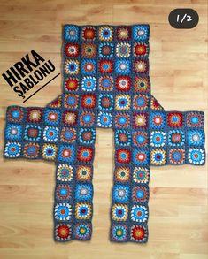 Crochet Cardigan Pattern, Crochet Quilt, Granny Square Crochet Pattern, Crochet Jacket, Crochet Poncho, Crochet Squares, Crochet Granny, Crochet Yarn, Knit Patterns