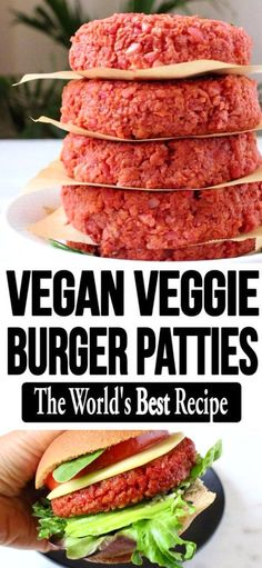 The best homemade vegan veggie patties recipe with beets, brown rice and protein loaded soy curls or TVP crumbles. Easy, meaty and hearty, skip the oil and make it totally whole foods plant based compliant. Homemade Vegan Burgers, Vegan Veggie Burger, Vegan Vegetarian, Vegetarian Recipes, Burger Recipes, Vegetarian Grilling, Healthy Grilling, Barbecue Recipes, Grilling Recipes