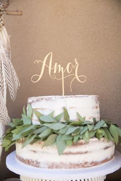 Charming naked cake from a French Country Bohemian Bridal Shower via Kara's Party Ideas | KarasPartyIdeas.com (35)