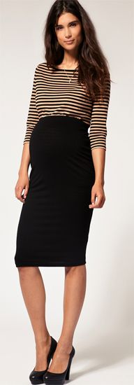 Maternity fashion... pencil skirt and stripes. A look I would even deem hot. :D Yay to feeling sexy and pregnant at the same time!