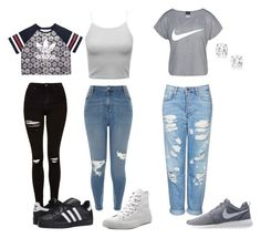 """everyday wear"" by mirandafrayser ❤ liked on Polyvore featuring Topshop, River Island, NIKE, Converse and adidas Originals"