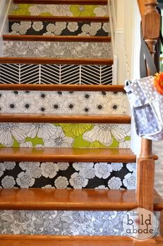 This blogger updated her staircase with just a few $5 wallpaper samples in whatever pattern and color struck her (much easier than choosing just one for an entire room!).