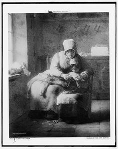Knitting lesson,women,children,Jean Francois Millet,Detroit Publishing Co,c1900*