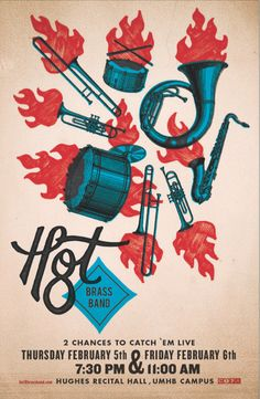 Gig poster designed for the Hot 8 Brass Band.