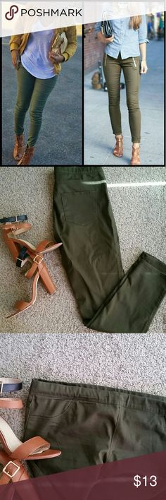 Olive green pull on skinny pants Olive green skinny jeggings. They are pull on pants so no buttons or zippers, with stretch the size tag says 14 but I am a size 10/12 and these fit perfect. Will fit a M to Large due to the stretch and no zipper closure.   1st picture listed for fashion ideas.   Good condition no damage. Worm once or twice. Can be cuffed up for a cute different look. H&M Pants Skinny